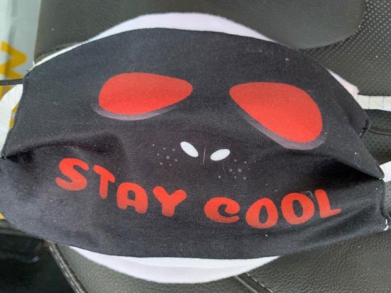 Maske mit Gummiband stay cool black - wiederverwendbar