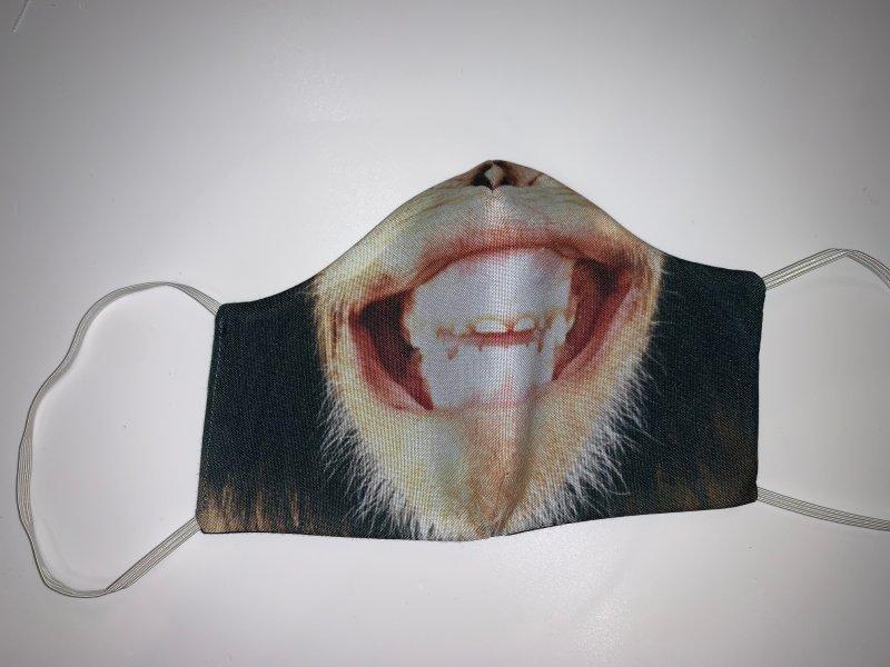Maske mit Gummiband  Affenmund - wiederverwendbar